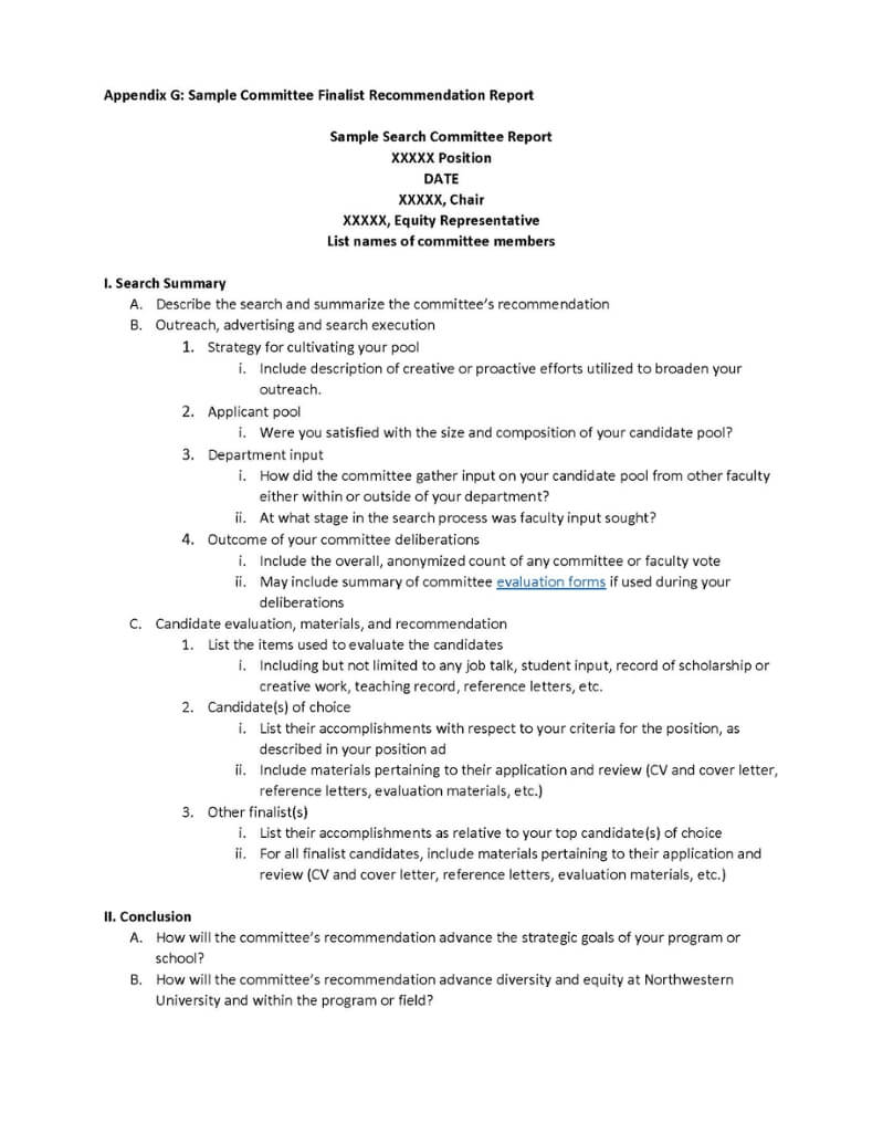 Appendix G: Sample Committee Finalist Recommendation Report In Recommendation Report Template