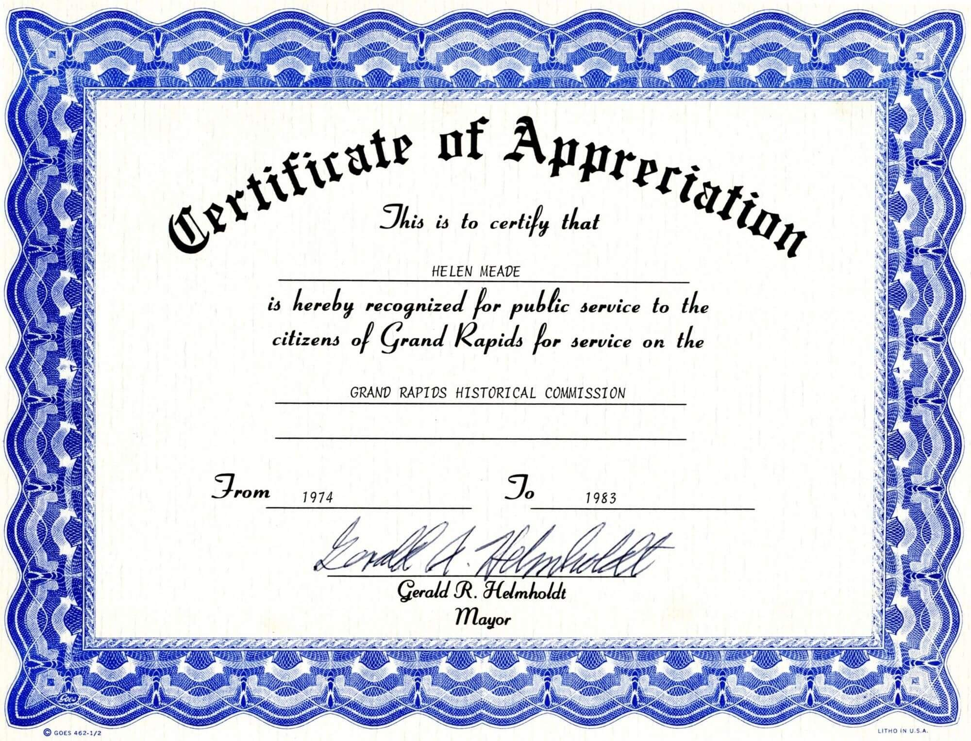 Appreciation Certificate Templates Free Download Pertaining To Free Certificate Of Appreciation Template Downloads