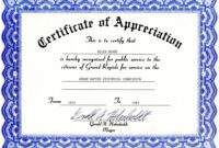 Appreciation Certificate Templates Free Download within Free Template For Certificate Of Recognition