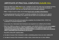 Architect's Certification Under The Pam Contract 2006 pertaining to Jct Practical Completion Certificate Template