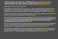 Architect's Certification Under The Pam Contract 2006 with Practical Completion Certificate Template Jct