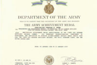 Army Achievement Medal Certificate Template ] – States Army pertaining to Army Certificate Of Achievement Template