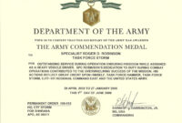 Army Achievement Medal Certificate Template with regard to Certificate Of Achievement Army Template