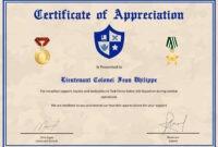 Army Certificate Of Appreciation Template regarding Army Certificate Of Appreciation Template