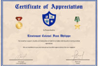 Army Certificate Of Appreciation Template within Army Certificate Of Achievement Template