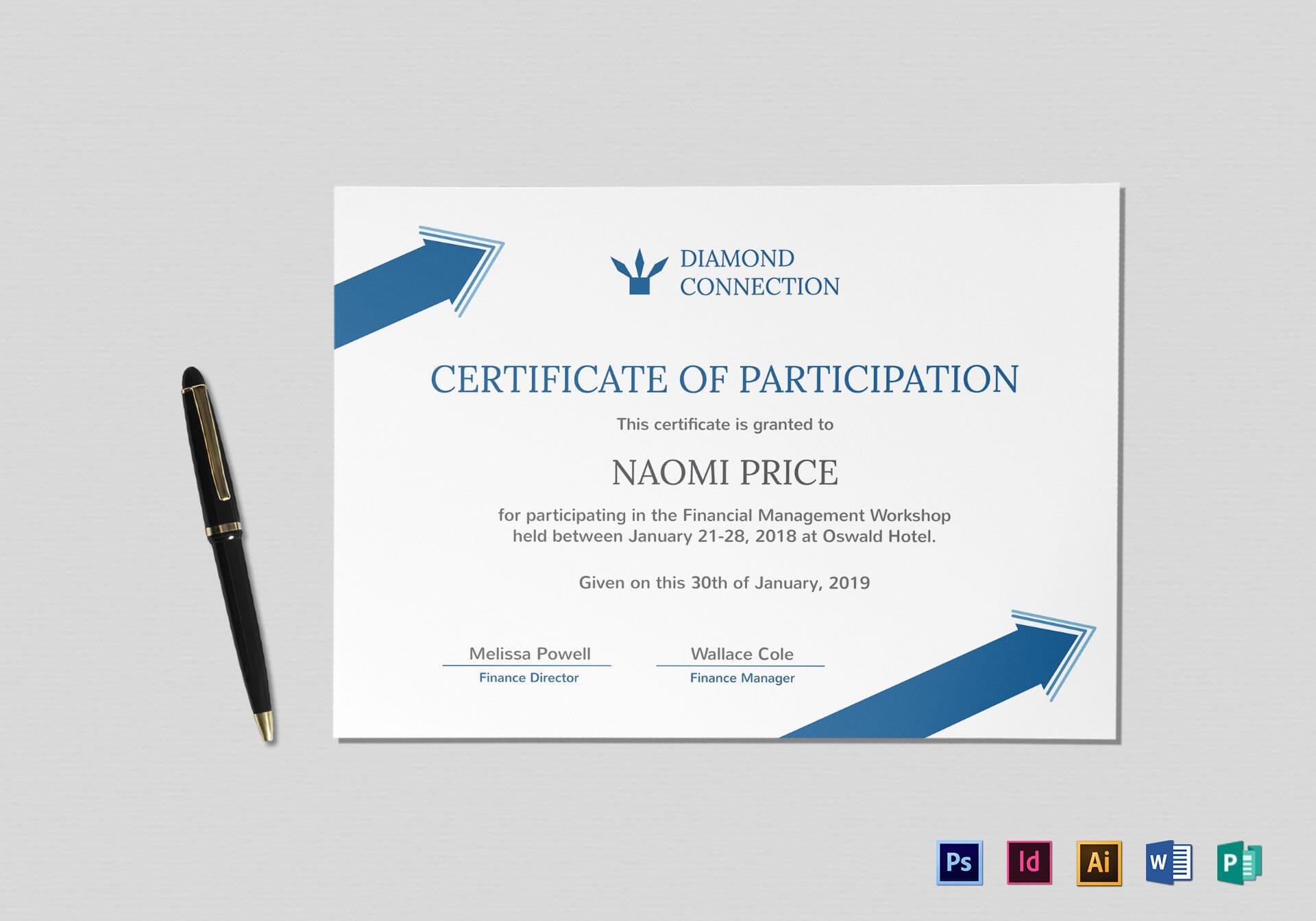 Arrow Style Participation Certificate Template Regarding Indesign Certificate Template