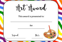 Art Award Certificate (Free Printable) | Art Certificate For Classroom Certificates Templates