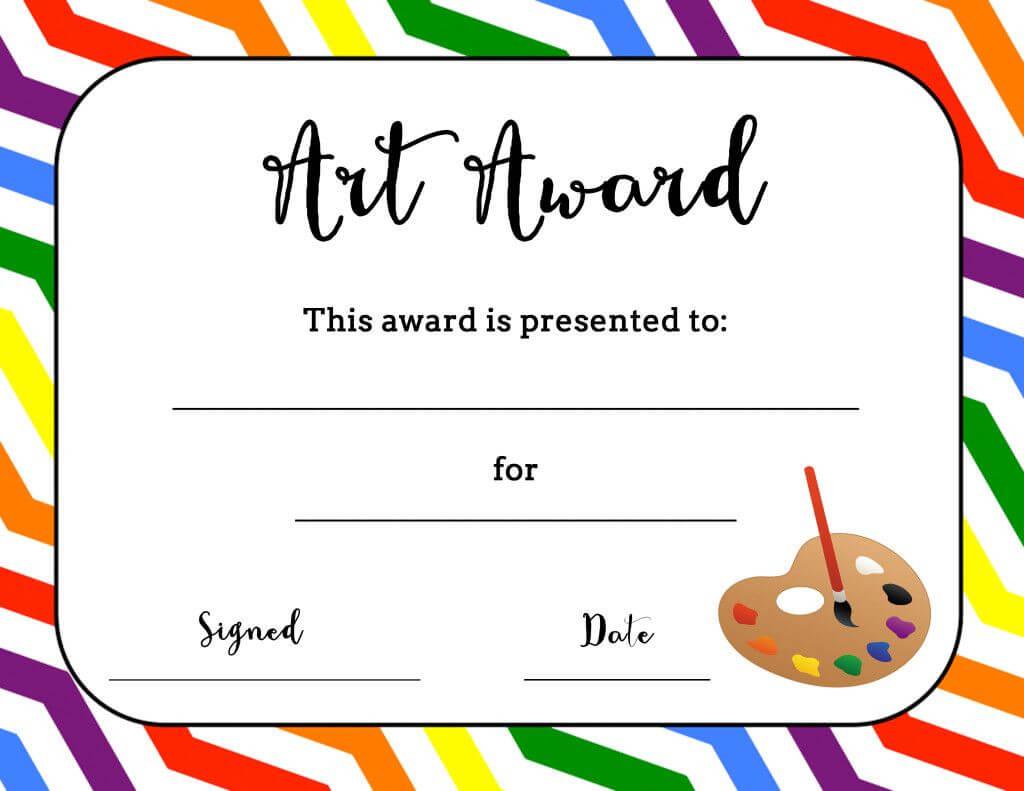 Art Award Certificate (Free Printable)   Art Certificate Throughout Art Certificate Template Free