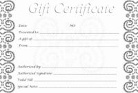 Astounding Blank Gift Certificate Template Ideas Birthday regarding Black And White Gift Certificate Template Free