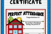 Attendance Certificate 1 {Fillable} | Attendance Certificate with Perfect Attendance Certificate Free Template