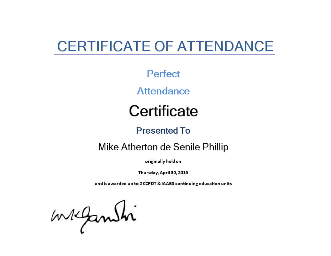 Attendance Certificate Sample   Templates At In Continuing Education Certificate Template