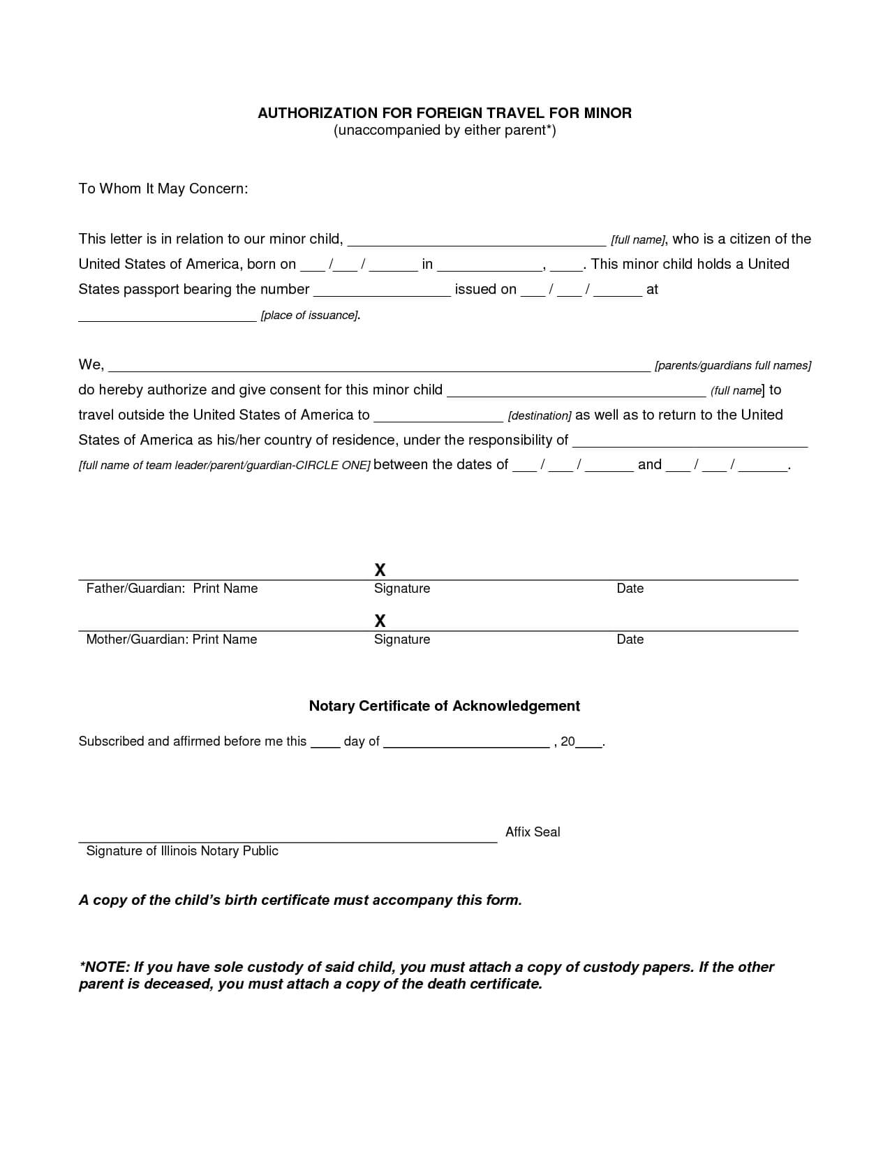 Authorization Letter For Child Travel With Grandparents For Travel Request Form Template Word