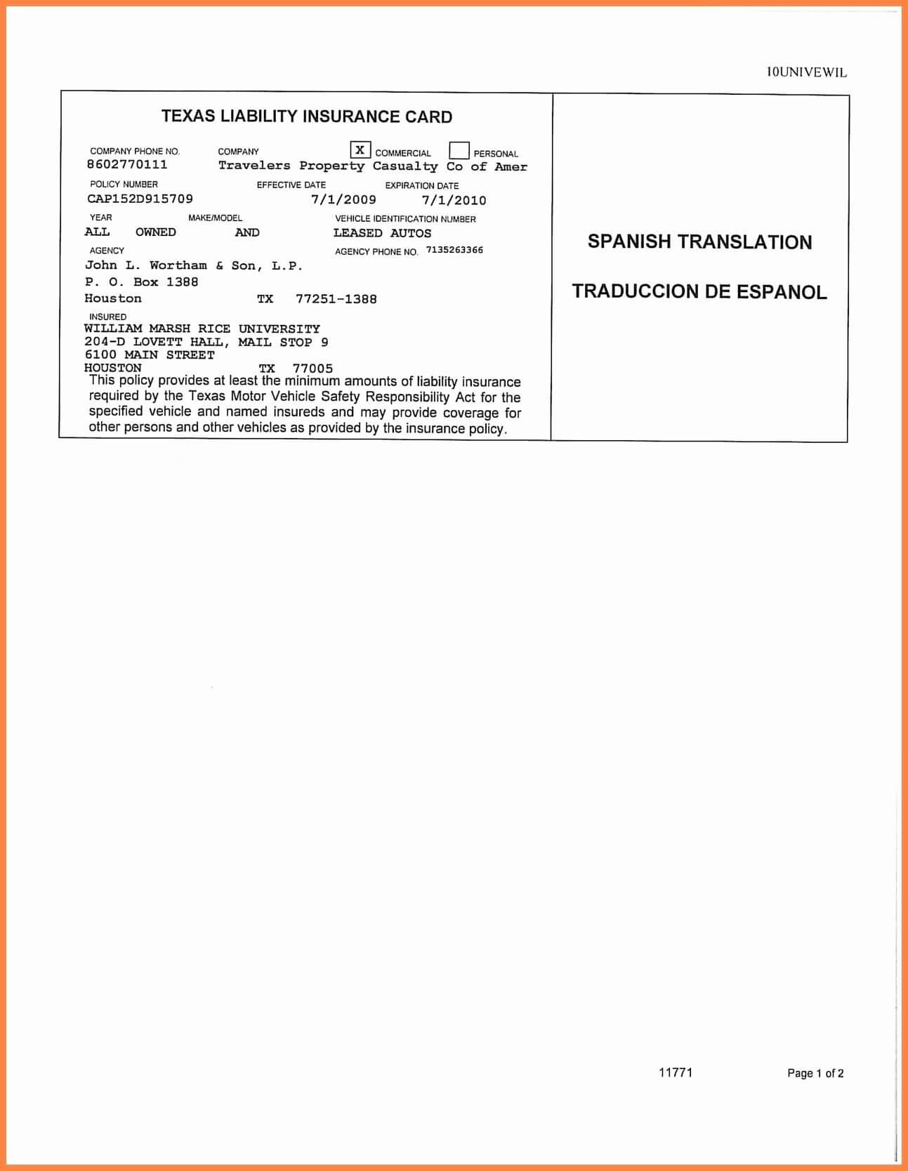 Auto Insurance Card Template Free Download #2 | Id Card Regarding Proof Of Insurance Card Template