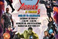 Avengers 5R Birthday Invitation | Dioskouri Designs pertaining to Avengers Birthday Card Template