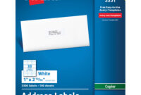 """Avery® Address Labels For Copiers, Permanent Adhesive, 1"""" X 2-13/16"""", 3,300  Labels (5351) – Permanent Adhesive – 1"""" Width X 2 13/16"""" Length – inside 33 Up Label Template Word"""