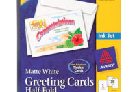 """Avery® Half-Fold Greeting Cards, Matte, 5-1/2"""" X 8-1/2"""", 30 Cards/envelopes  (8316) – 8 1/2"""" X 5 1/2"""" – Matte – 30 / Box – White inside Half Fold Greeting Card Template Word"""