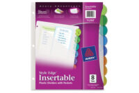 """Avery Style Edge Plastic Insertable Dividers – 8.5"""" X 11 inside 8 Tab Divider Template Word"""
