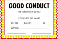 Award Certificate Good Conduct Stock Vector – Illustration in Good Conduct Certificate Template