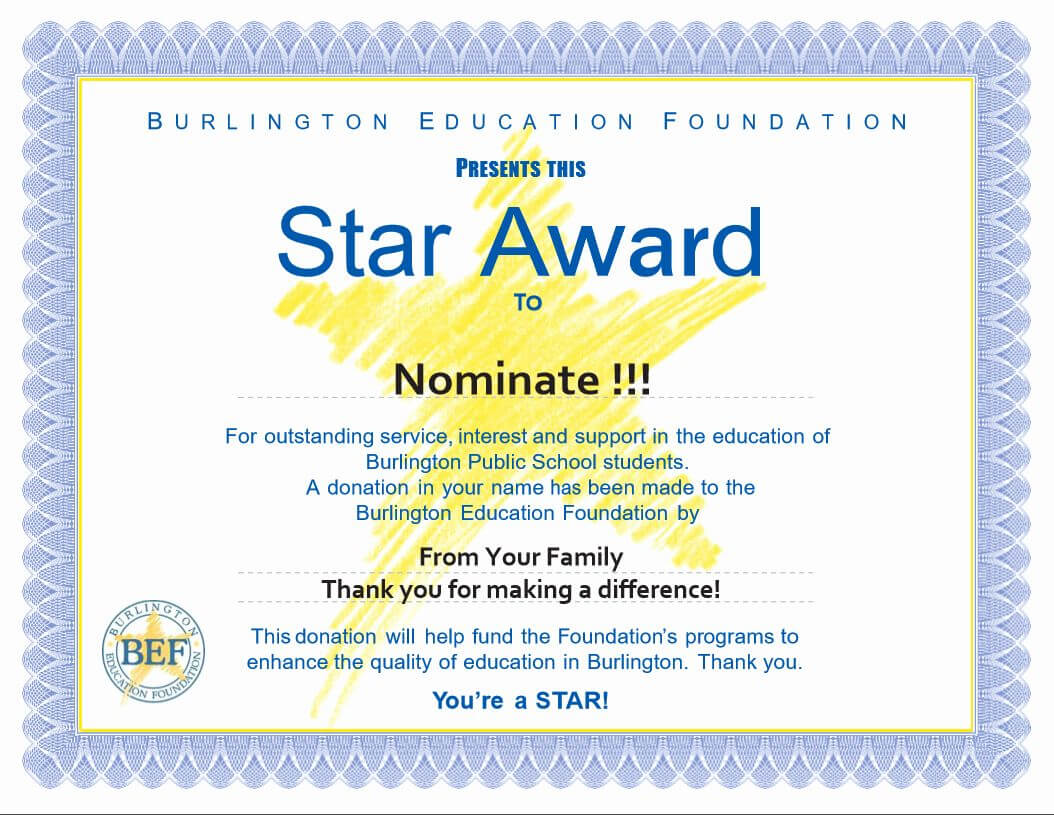 Award Certificate Template Free Fresh Star Awards Burlington Regarding Star Award Certificate Template