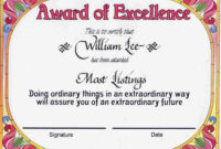 Award Certificates | Award Of Excellence Certificate Award within Certificate Templates For School
