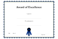 Award Template Certificate Borders | Award Of Excellenceis for Award Certificate Border Template