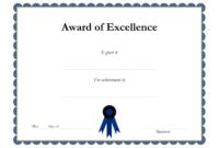 Award Template Certificate Borders Award Of Excellenceis in Academic Award Certificate Template