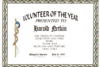 Award with regard to Volunteer Of The Year Certificate Template