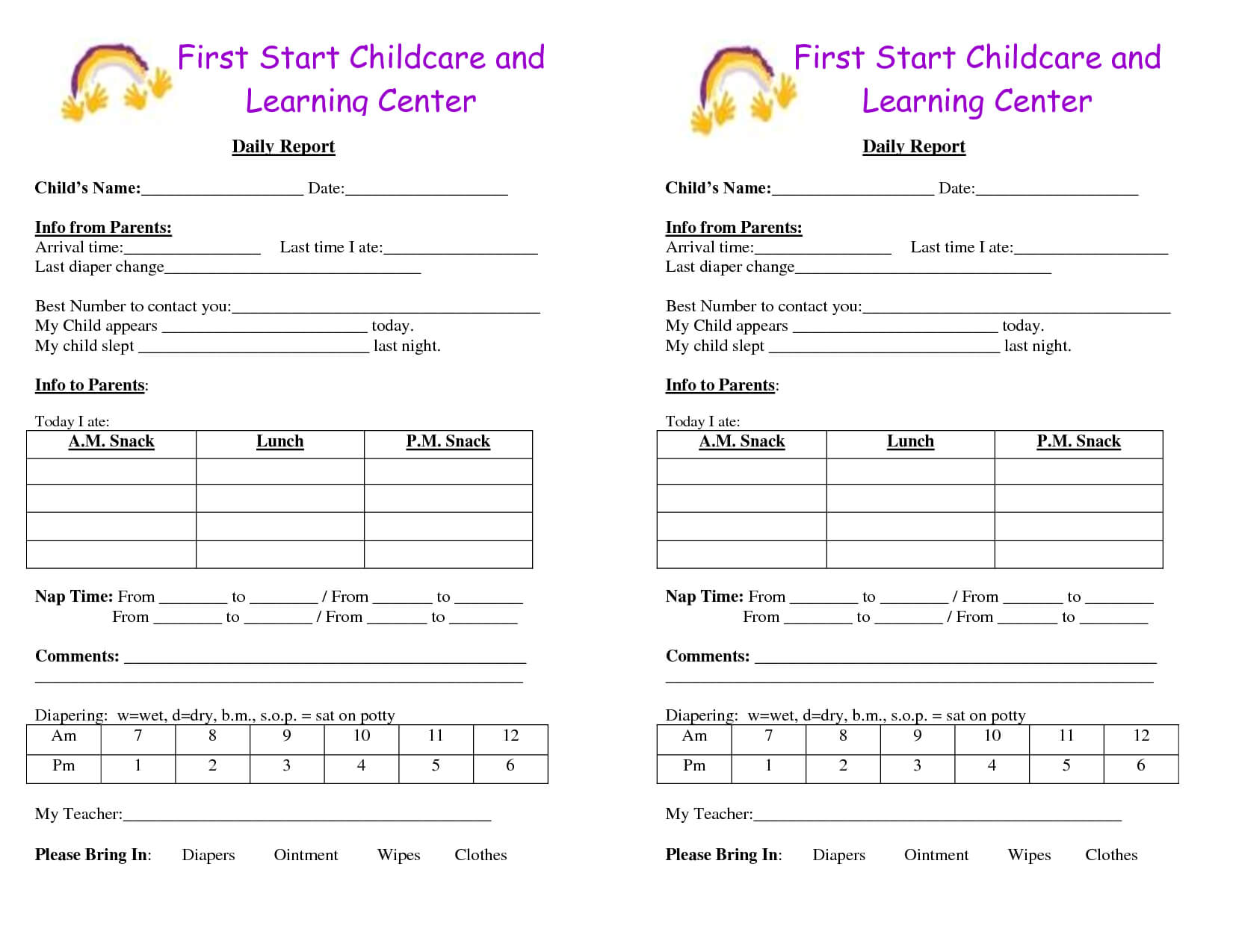 Baby Log Forms - Google Search | Infant Daily Report Inside Daycare Infant Daily Report Template