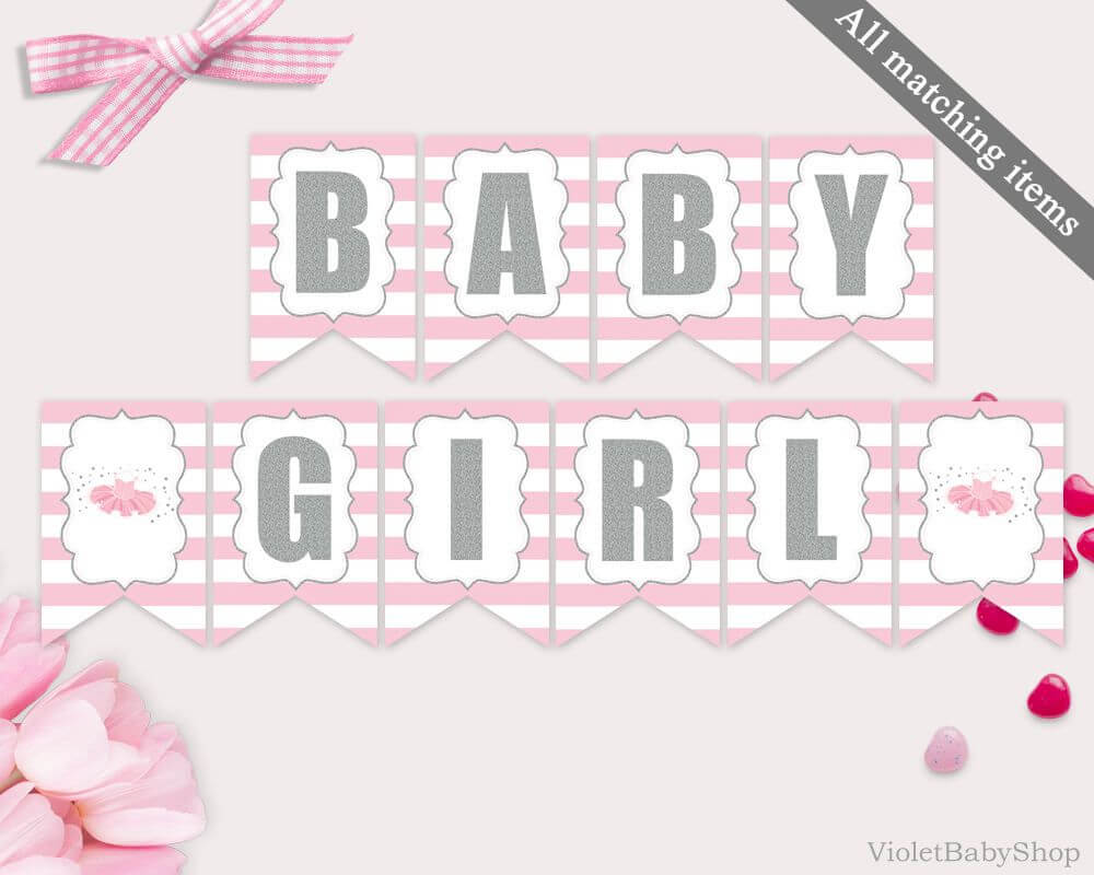 Baby Shower Banner Template Printable Tutu Excited Banner Inside Baby Shower Banner Template