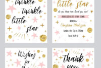 Baby Shower Girl Templates Twinkle Twinkle Little Star Text with Thank You Card Template For Baby Shower