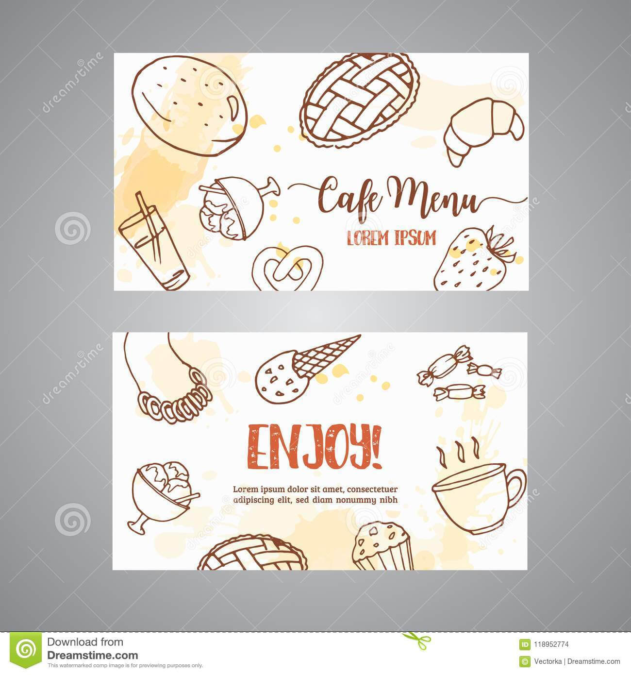 Bakery Business Card Template With Pastries. Sweet Pastry With Cake Business Cards Templates Free