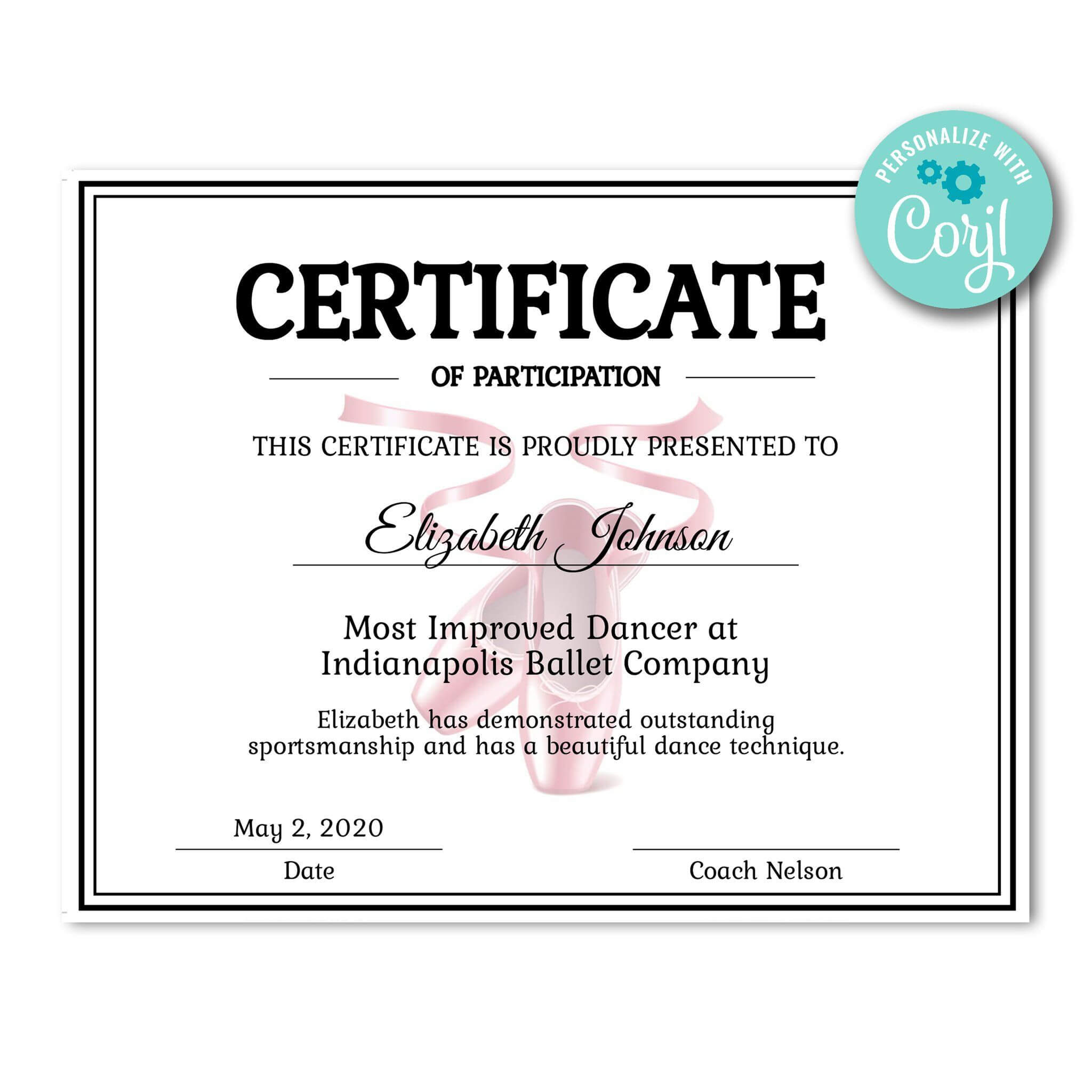 Ballet Certificate | Dance Technique, Certificate Templates In Track And Field Certificate Templates Free