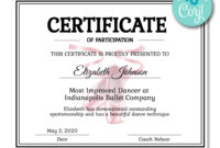 Ballet Certificate | Dance Technique, Certificate Templates intended for Softball Certificate Templates