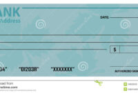 Bank Check / Cheque Template Stock Vector – Illustration Of throughout Large Blank Cheque Template