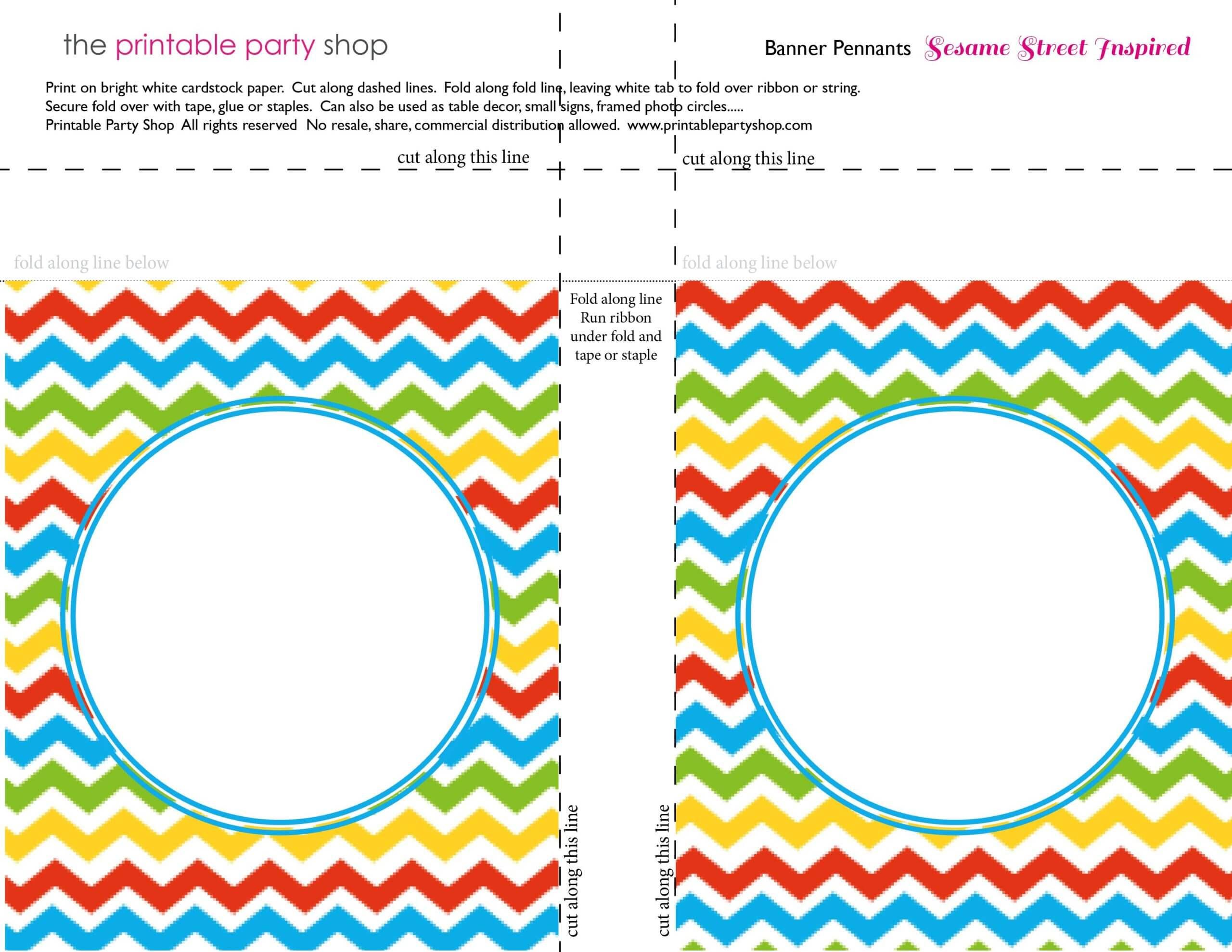 Banner Squares Chevron Sesame Street Printablepartyshop Inside Staples Banner Template