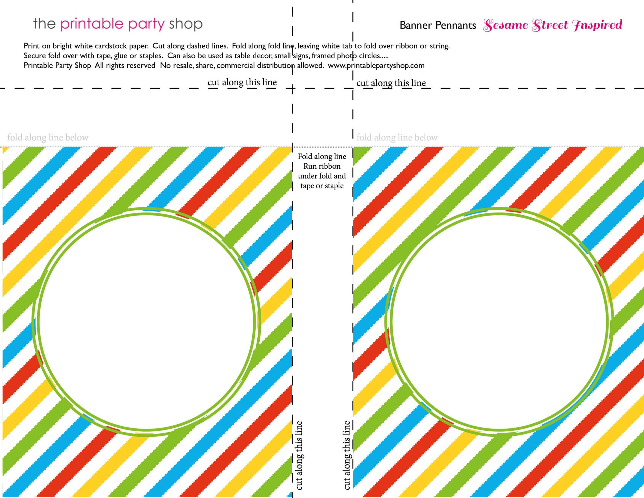 Banner Squares Stripes Sesame Street Printablepartyshop Within Sesame Street Banner Template