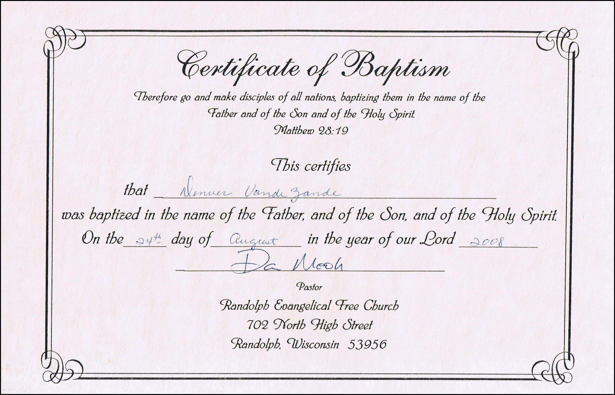 Baptism Certificate Templates For Word | Aspects Of Beauty With Regard To Baptism Certificate Template Download