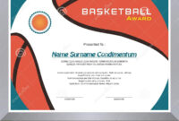 Basketball Award, Diploma Template Design Stock Vector pertaining to Basketball Certificate Template