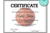 Basketball Certificate | Certificate Templates, Printable within Basketball Camp Certificate Template