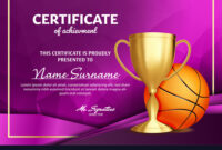 Basketball Certificate Diploma With Golden Cup regarding Basketball Certificate Template