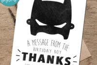Batman Birthday Thank You Card – Superhero Thank You Card Printab inside Batman Birthday Card Template
