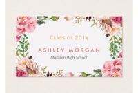 Beautiful Floral Graduate Students Graduation Business Card pertaining to Graduate Student Business Cards Template