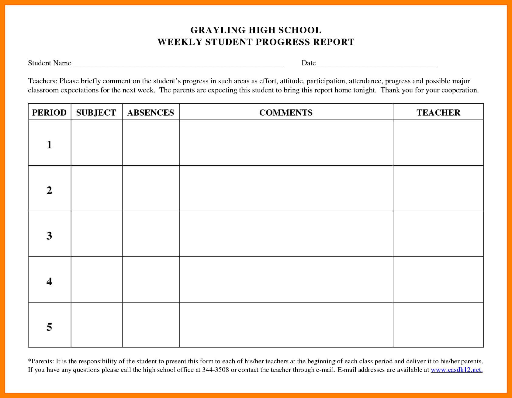 Beautiful Student Progress Report Template Ideas Format High With Regard To High School Progress Report Template