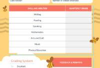 Bee Preschool Report Card Template – Visme throughout Preschool Progress Report Template