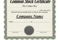 Best 3+ Stock Certificate Template Format Excel – You regarding Template For Share Certificate