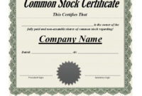 Best 3+ Stock Certificate Template Format Excel – You with regard to Template Of Share Certificate
