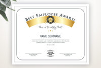 Best Employee Award, Employee Award Template, Editable Logo inside Best Employee Award Certificate Templates