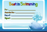 Best In Swimming Award Template With Whale In with regard to Swimming Award Certificate Template