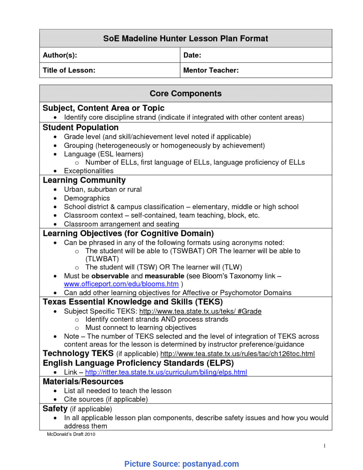 Best Madeline Hunter Lesson Plan Components Madeline Hunter Inside Madeline Hunter Lesson Plan Template Word
