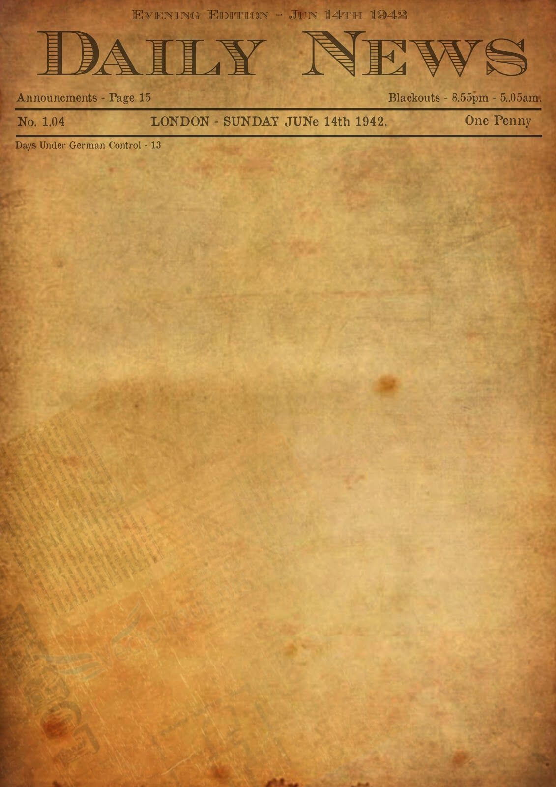 Best Photos Of Old Newspaper Template - Editable Old For Old Blank Newspaper Template